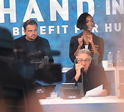 """Celebrities at the """"Hand to hand"""" telethon in Times square, New York City. 12 Sep 2017 Pictured: Leonardo DiCaprio, Jourdan Dunn. Photo credit: MEGA TheMegaAgency.com +1 888 505 6342"""