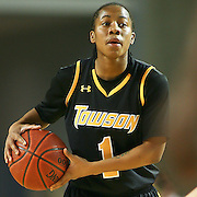 Towson Krystal Parnell (#1) attempts to get the ball to her teammate in first half. Delaware defeated Towson 75-57 Wednesday at The Bob Carpenter Center In Newark Delaware...Special to The News Journal/SAQUAN STIMPSON