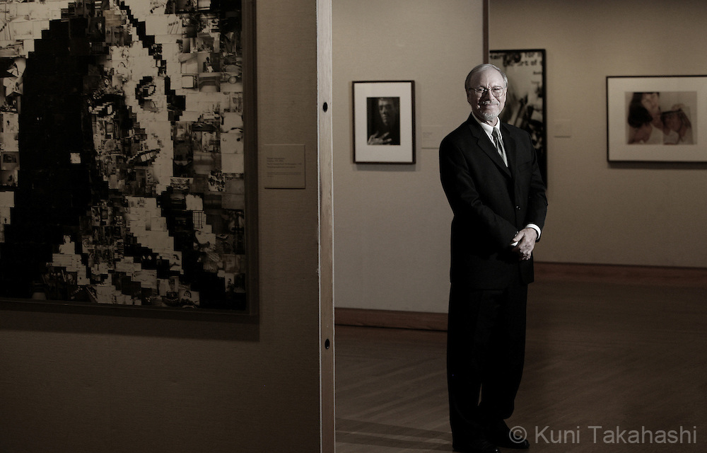 David Travis, photo gallery curator at the Art Institute of Chicago on June 24, 2008. Travis is retiring after working for the institute for 36 years. The piece on the left is collage by Robert Heinecken.<br /> (Photo by Kuni Takahashi)