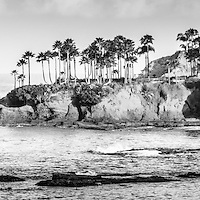 Laguna Beach California black and white panoramic picture. Laguna Beach is a Southern California beach city along the Pacific Ocean in the United States