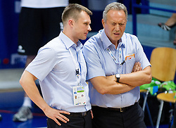 Dalibor Damjanovic, assistant coach of Slovenia and Zmago Sagadin, head coach of Slovenia during basketball match between National teams of Latvia and Slovenia in Qualifying Round of U20 Men European Championship Slovenia 2012, on July 16, 2012 in Domzale, Slovenia. (Photo by Vid Ponikvar / Sportida.com)