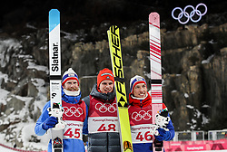 PYEONGCHANG-GUN, SOUTH KOREA - FEBRUARY 10: Robert Johansson of Norway, Andreas Wellinger of Germany and Johann Andre Forfang of Norway celebrate during Trophy ceremony after the Mens Ski Jumping - Normal Hill, Individual on day one of the PyeongChang 2018 Winter Olympic Games at Alpensia Ski Jumping Center on February 10, 2018 in Pyeongchang-gun, South Korea.  Photo by Kim Jong-man / Sportida