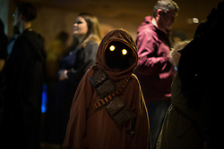"© Licensed to London News Pictures . 06/12/2015 . Manchester , UK . A Jawa in the cantina . Fans attend Star Wars exhibition "" For the Love of the Force "" at Bowlers Exhibition Centre in Manchester . Photo credit : Joel Goodman/LNP"
