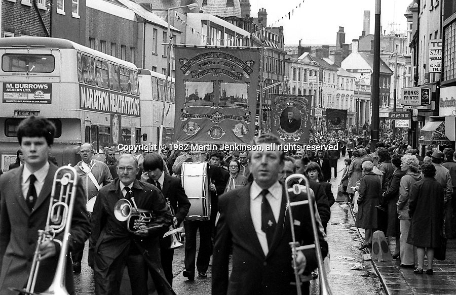 Woolley and Barrow banners, 1982 Yorkshire Miner's Gala. Doncaster