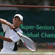 Seiki Tokuhiro, Japan, in action in the 75 Mens Singles during the 2009 ITF Super-Seniors World Team and Individual Championships at Perth, Western Australia, between 2-15th November, 2009.