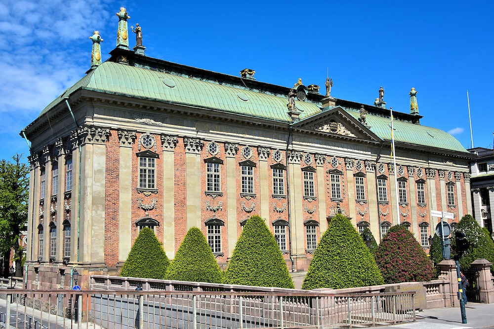Riddarhuset House of Nobles in Stockholm, Sweden<br /> Construction of this stunning baroque building named Riddarhuset began in 1641. It was the House of Nobility or the Knights&rsquo; House until 1866 when noblemen lost their power to the country&rsquo;s new parliament.  However, three classes of Swedish nobility still exist: lords, knights and esquires.  These titles do not have special privileges but do carry some social status.  The Riddarhuset institution maintains records of all past noble families.