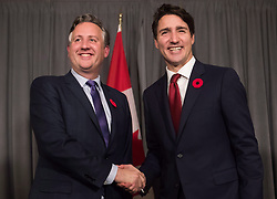 Prime Minister Justin Trudeau, right, meets with Vancouver mayor-elect Kennedy Stewart in Vancouver, on Thursday November 1, 2018. Vancouver's incoming mayor says a revamped National Energy Board review of the Trans Mountain pipeline expansion is likely doomed to fail and will land the federal government back in a courtroom. THE CANADIAN PRESS/Darryl Dyck