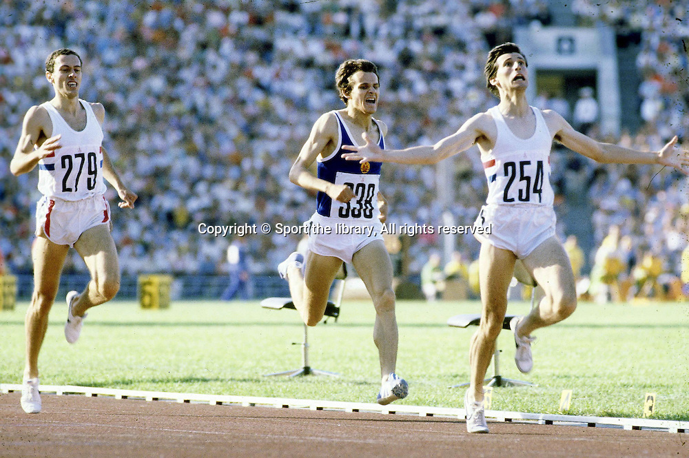 &copy; Sport the library/Presse Sports/ Photosport<br />Olympics-Summer History, Moscow USSR 1980<br />Track &amp; Field-1500m <br />Sebastian Coe, Great Britain, Gold Medallist<br />Straub and Steve Ovett finish 2nd and 3rd.<br /><br />jo 80finale 1500