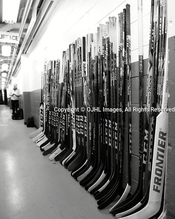 TRENTON, ON  - MAY 4,  2017: Canadian Junior Hockey League, Central Canadian Jr. &quot;A&quot; Championship. The Dudley Hewitt Cup. Game 5 between Georgetown Raiders and the Powassan Voodoos. Outside the Powassan Voodoos dressing room before the game.<br /> (Photo by Andy Corneau / OJHL Images)