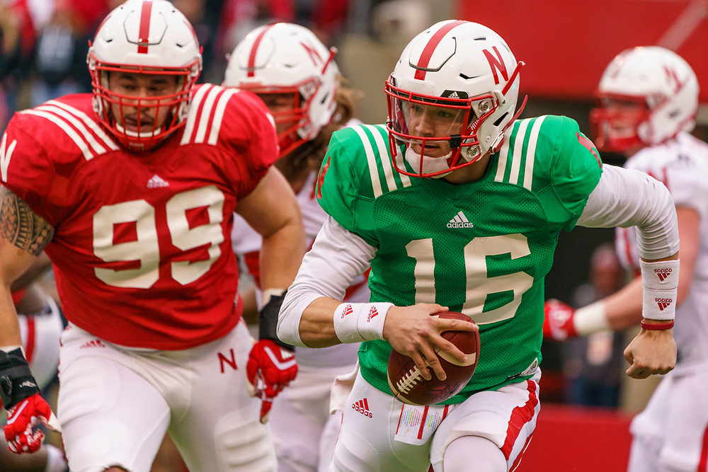 Noah Vedral #16 scrambles during Nebraska's annual Spring Game at Memorial Stadium in Lincoln, Neb., on April 21, 2018. © Aaron Babcock
