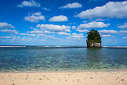 Single rock at coconut point in Tutuila island, American Samoa, South Pacific