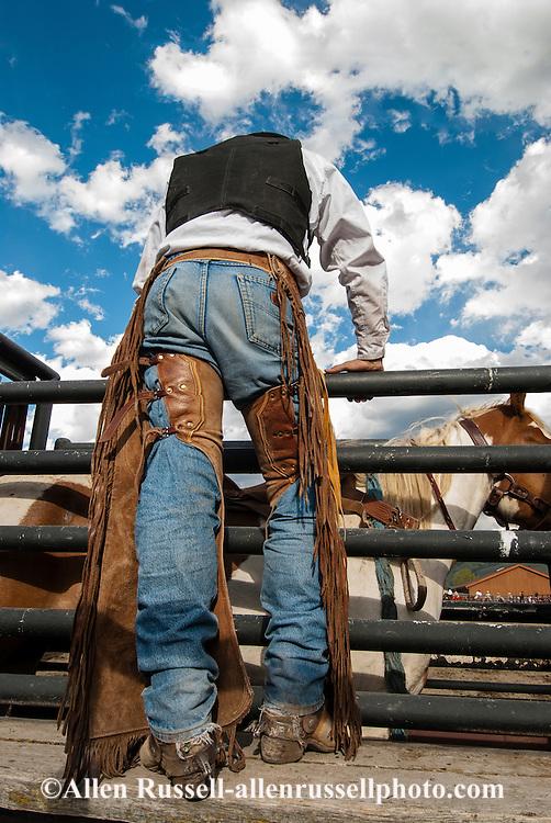 Cowboy, saddle bronc, rider, horses, rodeo, Gardiner, Montana