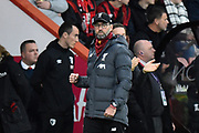 Goal - Liverpool manager Jurgen Klopp clenches his fist in celebration after Alex Oxlade-Chamberlain (15) of Liverpool made the score 0-1 during the Premier League match between Bournemouth and Liverpool at the Vitality Stadium, Bournemouth, England on 7 December 2019.