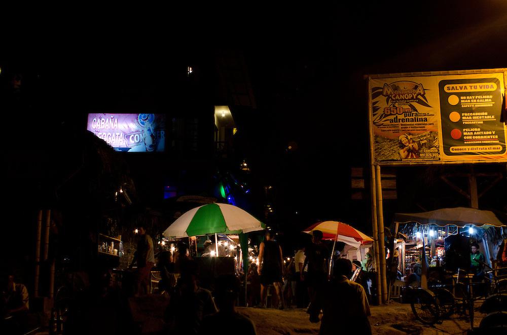 Nightlife near cocktail alley in Montañita, Ecuador.