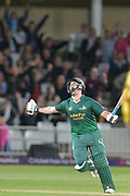 Steven Mullaney celebrates during the NatWest T20 Blast Quarter Final match between Notts Outlaws and Somerset County Cricket Club at Trent Bridge, West Bridgford, United Kingdom on 24 August 2017. Photo by Simon Trafford.