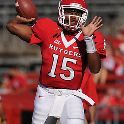 Sep 19, 2009; Piscataway, NJ, USA; Rutgers quarterback Jabu Lovelace (15) warms up before the first half of NCAA college football between Rutgers and Florida International at Rutgers Stadium.
