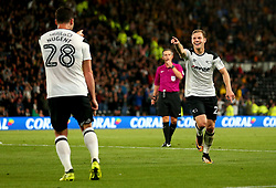Matej Vydra of Derby County celebrates with David Nugent of Derby County scoring a goal to make it 2-0 - Mandatory by-line: Robbie Stephenson/JMP - 08/09/2017 - FOOTBALL - Pride Park Stadium - Derby, England - Derby County v Hull City - Sky Bet Championship