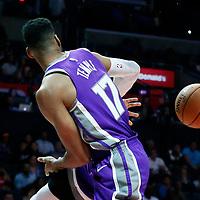 12 October 2017: Sacramento Kings guard Garrett Temple (17) passes the ball around LA Clippers center DeAndre Jordan (6) during the LA Clippers 104-87 victory over the Sacramento Kings, at the Staples Center, Los Angeles, California, USA.