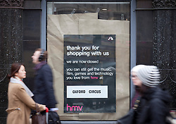 © Licensed to London News Pictures. 05/04/2013. London, UK. The now closed Trocadero branch of entertainment retailer HMV is seen on Oxford Street today (05/04/2013) after news  surfaced that restructuring specialists Hilco are in talks to safeguard up to 140 stores and 2,500 jobs in a GB£50 million deal. The retailer, who called in administrators Deloitte in January 2013, has struggled in declining markets and amid increasing competition from supermarkets and online retailers. Photo credit: Matt Cetti-Roberts/LNP