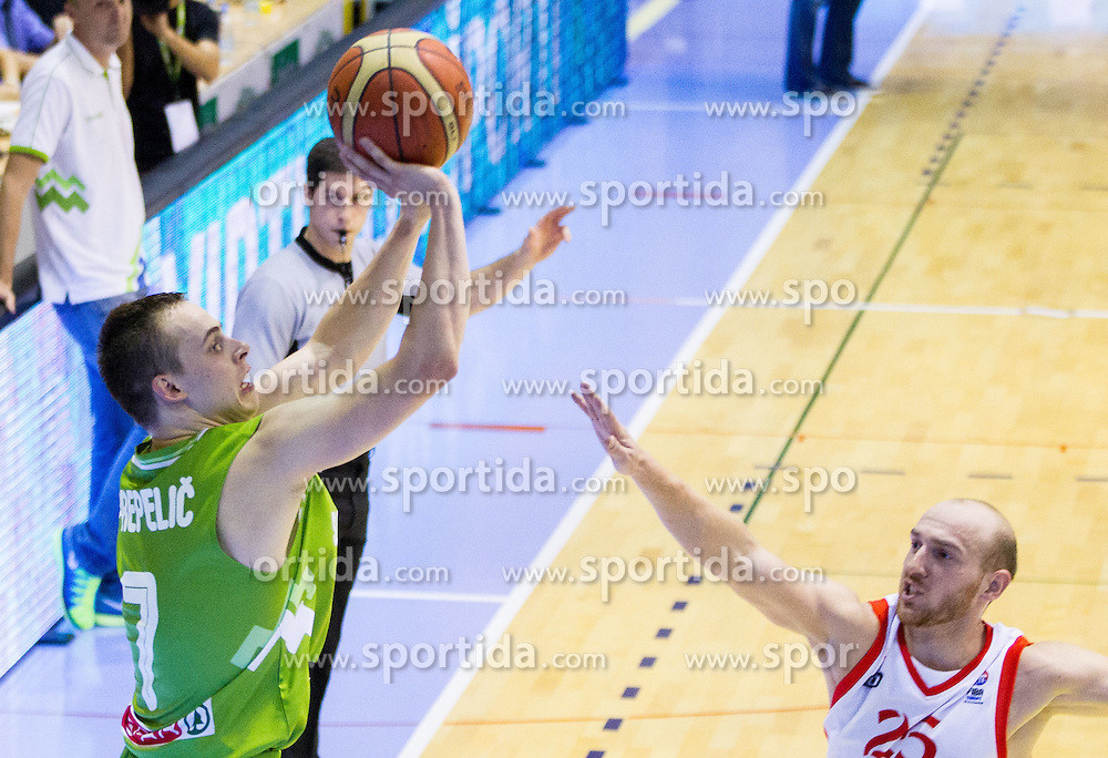Klemen Prepelic of Slovenia vs Beka Tsivtsivadze of Georgia during friendly basketball match between National teams of Slovenia and Georgia in day 2 of Adecco Cup 2014, on July 25, 2014 in Dvorana OS 1, Murska Sobota, Slovenia. Photo by Vid Ponikvar / Sportida.com
