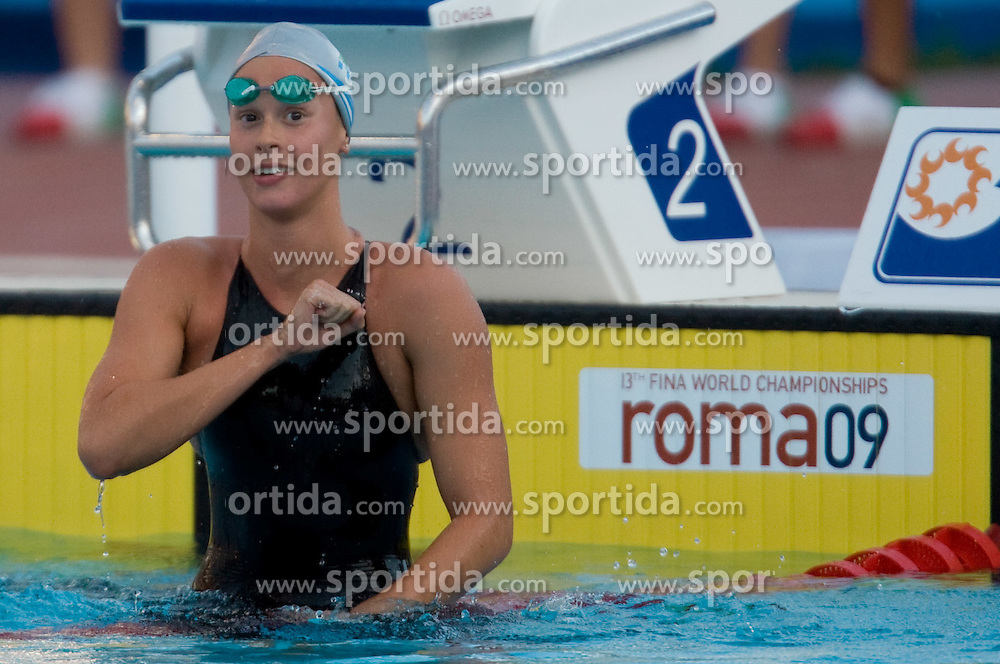 Federica Pellegrini of Italy celebrates after she set new World record during the Women's 200m Freestyle Semi-Final during the 13th FINA World Championships Roma 2009, on July 28, 2009, at the Stadio del Nuoto,  in Foro Italico, Rome, Italy. (Photo by Vid Ponikvar / Sportida)