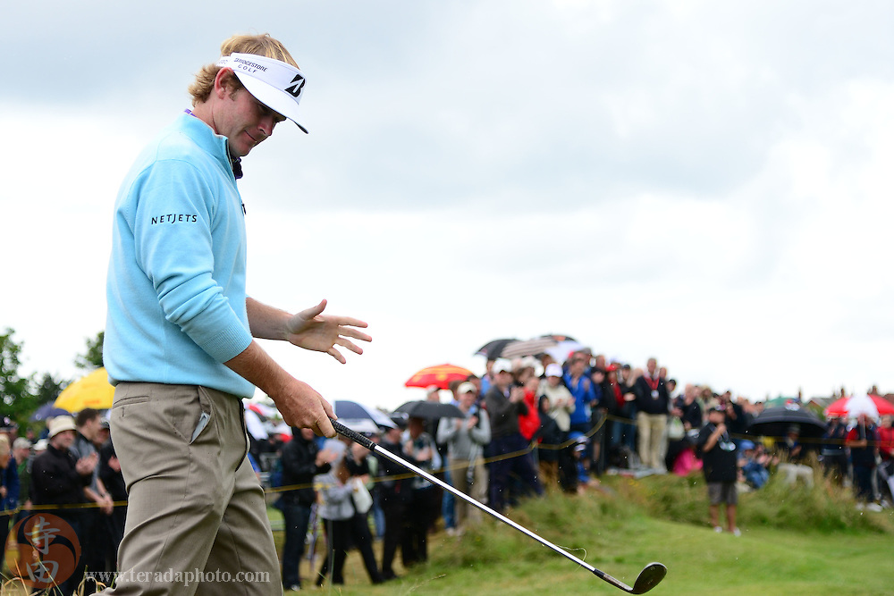 July 20, 2012; St. Annes, ENGLAND; Brandt Snedeker acknowledges the crowd after hitting from the rough on the 15th hole during the second round of the 2012 British Open Championship at Royal Lytham & St. Annes Golf Club.
