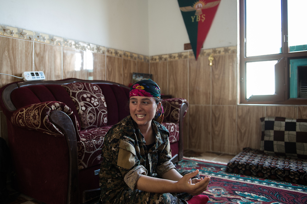 When ISIS overran Shingal in August 2014, 19-year-old Yazidi Berxwedan stayed there to defend the region. She is part of the Sinjar Women's Units which were founded in January 2015. Shingal (Sinjar), Iraq, August 27, 2015