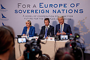 "Press conference of the European anti-migrant parties ""Europe of Nations and Freedom"" (ENF) in Prague. Attending were Marie Le Pen from France (left), Geert Wilders from Holland (right) and Tomio Okamura of the Freedom and Direct Democracy (SPD) movement from Czech Republic which was hosting the meeting. Prague, 16.12.2017"