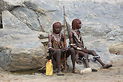 Africa, Ethiopia, Omo River Valley Hamer Tribe two young girls with ochre hair The hair is coated with ochre mud and animal fat