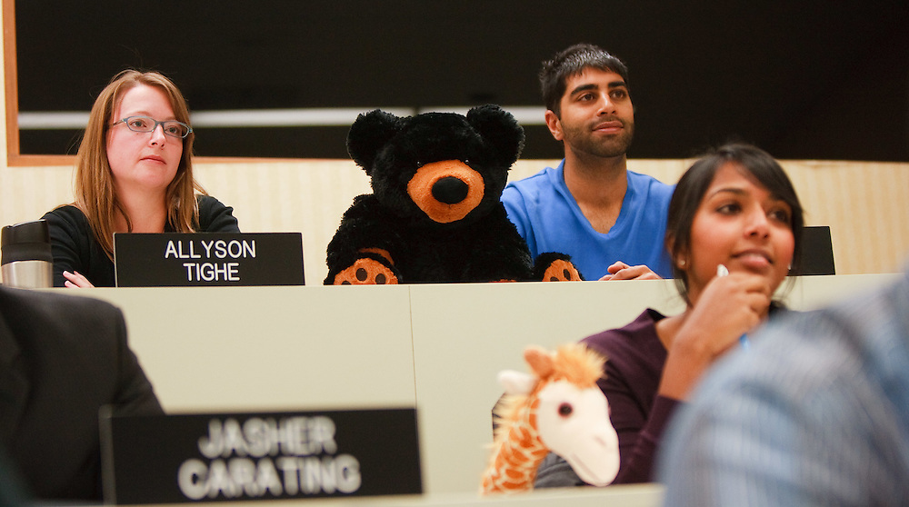 London, Ontario ---11-10-19--- Students sit with stuffed animals during their class with Richard Ivey School of Business Strategy Professor Ariff Kachra in London, Ontario October 19, 2011. Professor Kachra uses innovative teaching methods like the use of stuffed animals to illustrate points in his class.<br /> GEOFF ROBINS The Globe and Mail