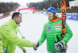 Enzo Smrekar congrats Ana Drev (SLO) after the 2nd Run of the 7th Ladies' Giant slalom at 52nd Golden Fox - Maribor of Audi FIS Ski World Cup 2015/16, on January 30, 2016 in Pohorje, Maribor, Slovenia. Photo by Vid Ponikvar / Sportida