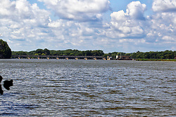 Starved Rock lock and dam on the Illinois River seen from up river.