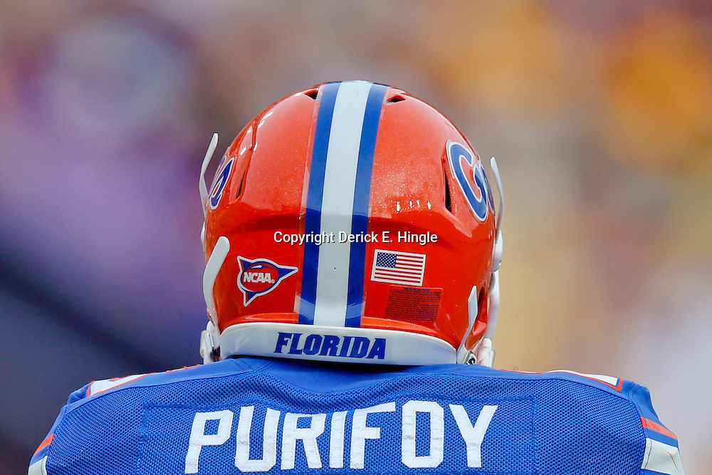 Oct 12, 2013; Baton Rouge, LA, USA; Florida Gators defensive back Loucheiz Purifoy (15) against the LSU Tigers during the second half of a game at Tiger Stadium. LSU defeated Florida 17-6. Mandatory Credit: Derick E. Hingle-USA TODAY Sports