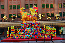 February 5, 2018 - Beijing, Beijing, China - Beijing,CHINA-5th February 2018: . (EDITORIAL USE ONLY. CHINA OUT) The dog shaped lantern can be seen at Wangfujing Commercial Street in Beijing, February 5th, 2018. (Credit Image: © SIPA Asia via ZUMA Wire)