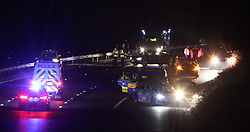 Southampton,Hampshire Sunday 2nd April 2017 Four Police vehicle have been damaged and written off following a Police chase on the M27 in Hampshire in the early hours of this morning.  It is understood that the vehicle were involved in a tactical  pursuit  measure  in an attempt to stop a black Honda that had no insurance between junction one and junction two of the Eastbound M27 just after 2am on Sunday morning.<br /> he aftermath of the chase can be seen with a wheel  and  pieces of Police car from three of the BMW x5 worth approx 50K each and further damaged to a BMW 530  also worth in excess of 40K has been damaged.  A number of people have been arrested and two of those is unclear if they are Police or had been carried in the uninsured vehicle have been taken to hospital.One of the marked  BMW X5 has come to rest on the central reservation missing its rear axle and whilst two other Police Vehicles a Marked BMW X5 and a BMW 530 can be seen boxing in the black Honda accord.  50 meters up the road a fifth  BMW X5 is missing its rear axle on the hard shoulder of the M27.  It is also understood that a red Peugeot was struck  whilst officers where attempting to carry out a rolling block on the vehicle. Armed Police officer also attended the incident but it is not thought  any weapons where drawn Highways England have advised that they are not expected to have the road return to them by Police and reopened before 10am. Police have yet to issue any statement on the orgy of damage&copy;UKNIP