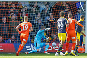 GOAL 1-0 Luton Town midfielder George Moncur (20) (not in picture) scores, beats Oxford United goalkeeper Simon Eastwood (1), during the EFL Sky Bet League 1 match between Luton Town and Oxford United at Kenilworth Road, Luton, England on 4 May 2019.