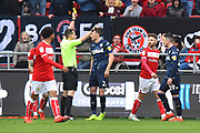 Luke Ayling (2)  of Leeds United is shown a yellow card, booked during the EFL Sky Bet Championship match between Bristol City and Leeds United at Ashton Gate, Bristol, England on 9 March 2019.