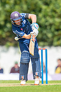 Scotland's Matthew Cross gets hit by a fast ball during the One Day International match between Scotland and Afghanistan at The Grange Cricket Club, Edinburgh, Scotland on 10 May 2019.