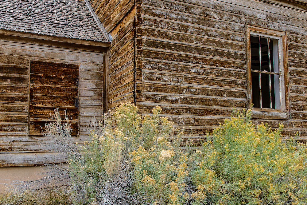 Old abandoned schoolhouse or community building, side walls; Caineville, UT