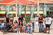 Jul 7, 2009 -- GLENDALE, AZ: About 35 people came to Westgate Center, a shopping and dining complex in Glendale, a suburb of Phoenix, AZ, to watch the memorial service for Michael Jackson. The service was simulcast live from the Staples Center in Los Angeles on jumbotrons around the complex. Photo by Jack Kurtz