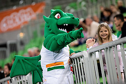 Green Dragon - Mascot of Olimpija during basketball match between KK Cedevita Olimpija and KK Igokea in Round #14 of ABA League 2019/20, on January 5, 2020 in Arena Stozice, Ljubljana, Slovenia. Photo by Vid Ponikvar/ Sportida