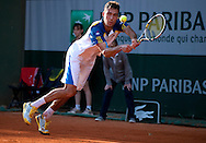 Jerzy Janowicz of Poland competes in men's singles in the thrid round while Day Seventh during The French Open 2013 at Roland Garros Tennis Club in Paris, France.<br /> <br /> France, Paris, June 01, 2013<br /> <br /> Picture also available in RAW (NEF) or TIFF format on special request.<br /> <br /> For editorial use only. Any commercial or promotional use requires permission.<br /> <br /> Mandatory credit:<br /> Photo by © Adam Nurkiewicz / Mediasport