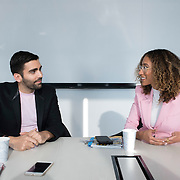December 14, 2016 - New York, NY : From left, Phillip Picardi, Digital Editorial Director at Teen Vogue, and Elaine Welteroth, Editor-in-Chief of Teen Vogue, are photographed during their interview with the New York Times's Anna North (not visible) at Condé Nast's Teen Vogue offices in One World Trade in Manhattan on Wednesday afternoon. CREDIT: Karsten Moran for The New York Times
