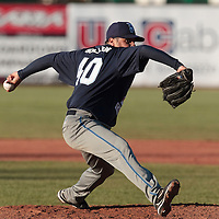 05 June 2010: Pitcher Rene Mazzocchi of Bologna pitches against Rouen during the 2010 Baseball European Cup match won 10-0 by Fortitudo Bologna over the Rouen Huskies, at the AVG Arena, in Brno, Czech Republic.