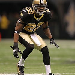 16 January 2010: New Orleans Saints cornerback Tracy Porter (22) drops back into coverage during a 45-14 win by the New Orleans Saints over the Arizona Cardinals in a 2010 NFC Divisional Playoff game at the Louisiana Superdome in New Orleans, Louisiana.