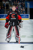 KELOWNA, BC - FEBRUARY 08: Taylor Gauthier #35 of the Prince George Cougars lines up on the blue line for the national anthem against the Kelowna Rockets at Prospera Place on February 8, 2019 in Kelowna, Canada. (Photo by Marissa Baecker/Getty Images)