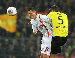 25.01.2014, Signal Iduna Park, Dortmund, GER, 1. FBL, Borussia Dortmund vs FC Augsburg, 18. Runde, im Bild Kopfballduell zwischen Arkadiusz, Arek Milik (FC Augsburg), Sebastian Kehl (Bor Dortmund), Aktion, Zweikampf, Querformat, quer, landscape, horizontal // during the German Bundesliga 18th round match between Borussia Dortmund and FC Augsburg at the Signal Iduna Park in Dortmund, Germany on 2014/01/26. EXPA Pictures &copy; 2014, PhotoCredit: EXPA/ Eibner-Pressefoto/ Krieger<br /> <br /> *****ATTENTION - OUT of GER*****