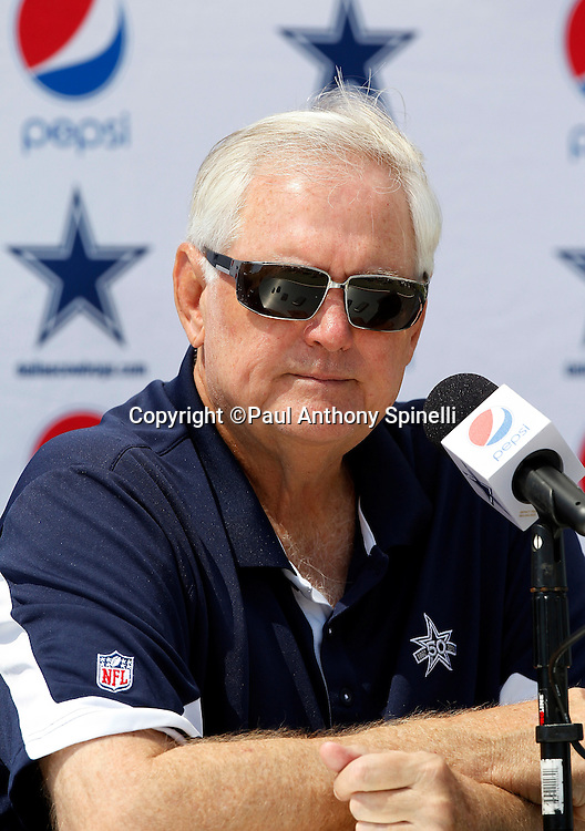 Dallas Cowboys Head Coach Wade Phillips holds a press conference and speaks to the media before NFL football training camp on Wednesday, August 18, 2010 in Oxnard, California. (©Paul Anthony Spinelli)