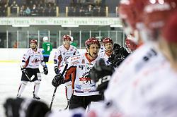 Miha Brus of HDD SIJ Acroni Jesenice celebrates with players during ice hockey match between HK SZ Olimpija and HDD SIJ Acroni Jesenice in AHL - Alps Hockey League 2017/18, on October 25, 2017 in Hala Tivoli, Ljubljana, Slovenia. Photo by Matic Klansek Velej / Sportida
