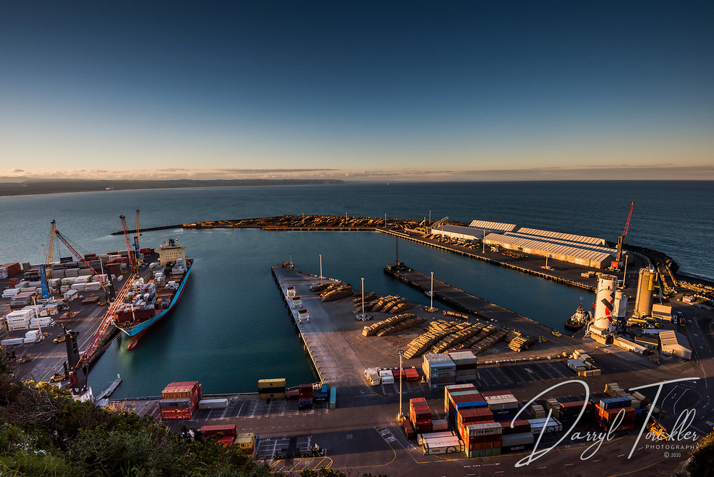 View from Bluff lookout over Napier Port. Hawkes Bay, New Zealand
